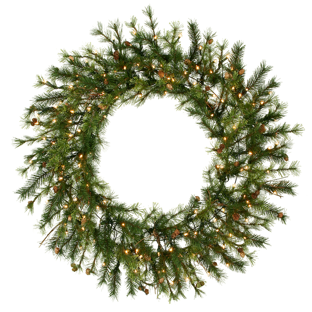New Mixed-Country-Pine-Wreath-Clear-Lights Product Image 2716