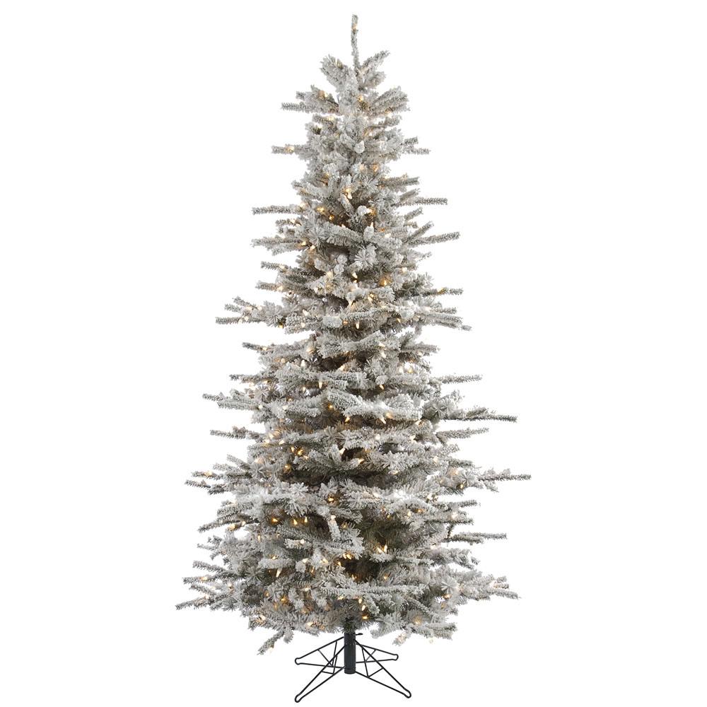 Vickerman   4.5 foot Flocked Slim Sierra Christmas Tree: Clear ...