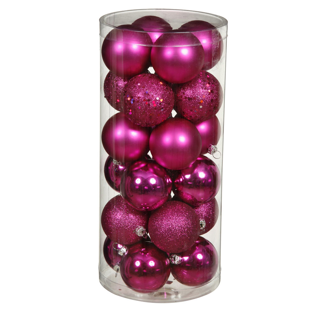 1.6 inch Magenta 4 Assorted Finish Ball Ornaments: (Set of 96)