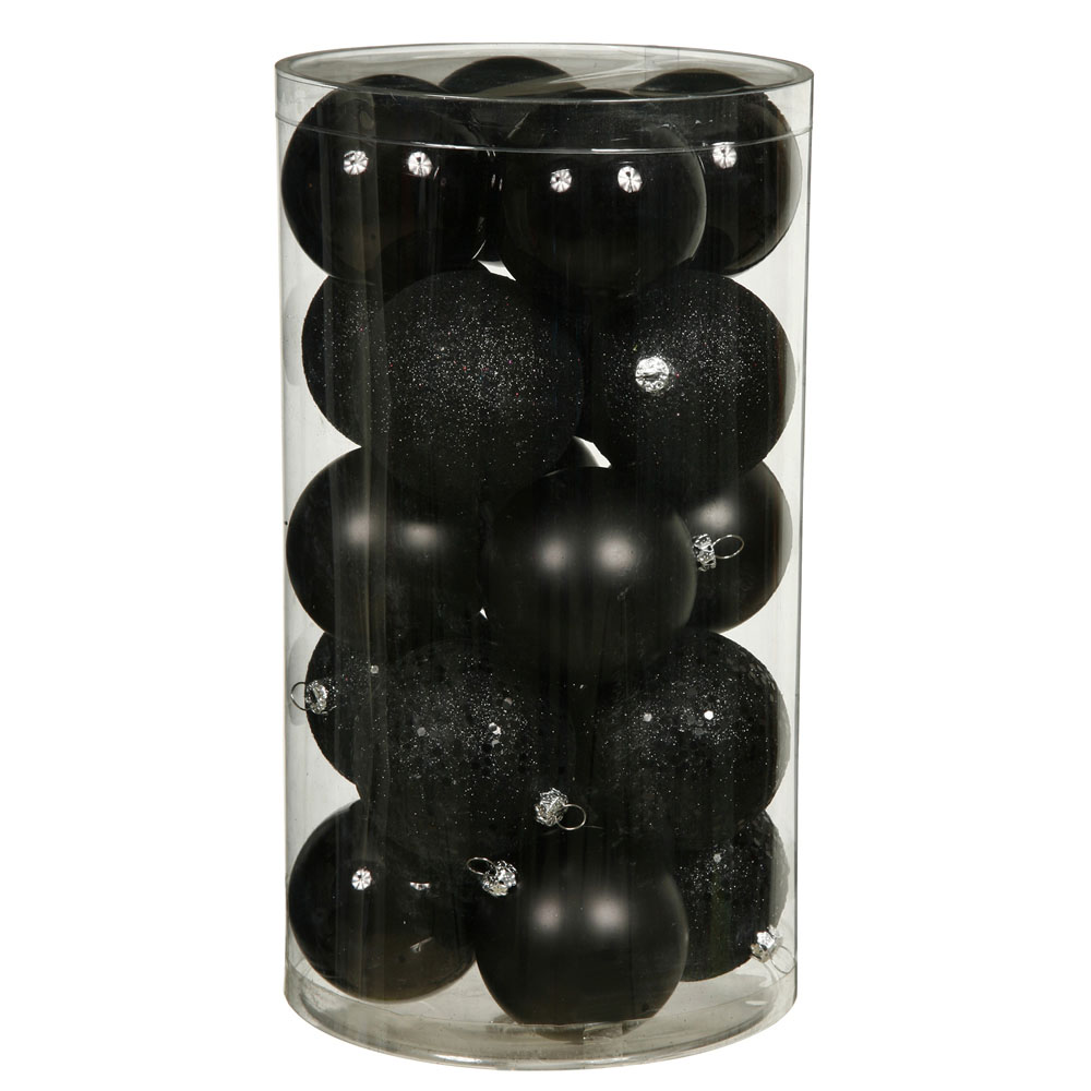 1.6 inch Black 4 Assorted Finish Ball Ornaments: (Set of 96)