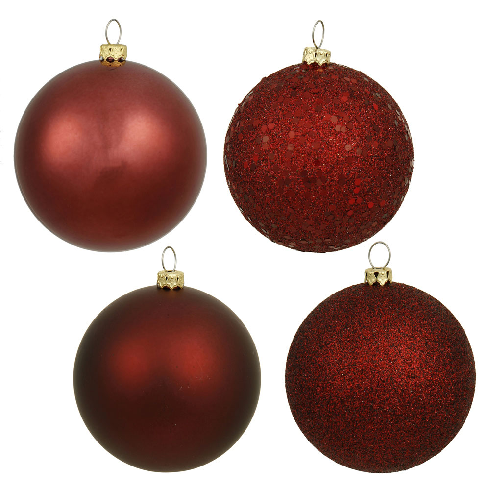 1.6 inch Burgundy 4 Assorted Finish Ball Ornaments: (Set of 96)