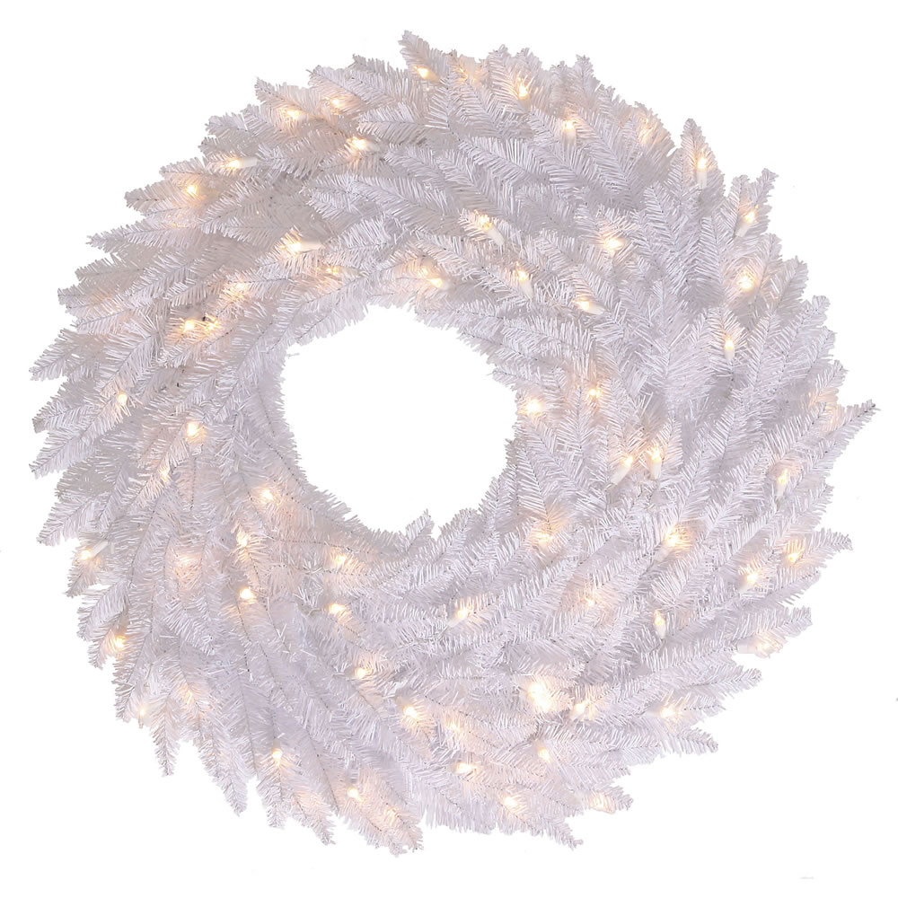 Special White Fir Wreath Clear Lights Product Photo