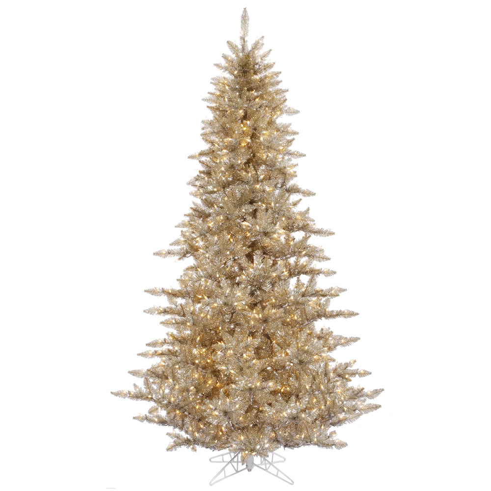 10 foot Champagne Fir Tree: Clear All-Lit Lights