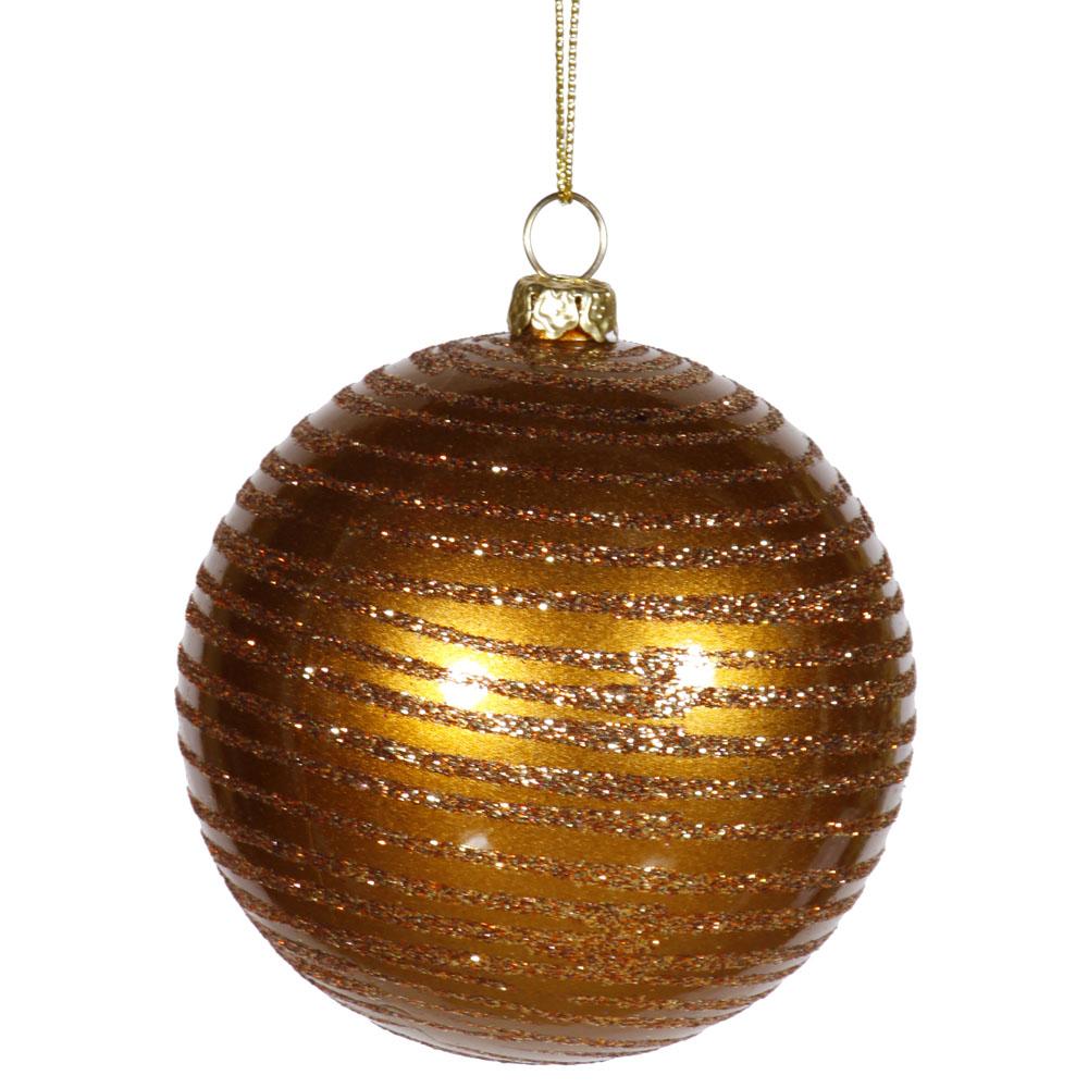 4.75 inch Antique Gold Matte/Glitter Ball Ornament: Set of 3 M158616