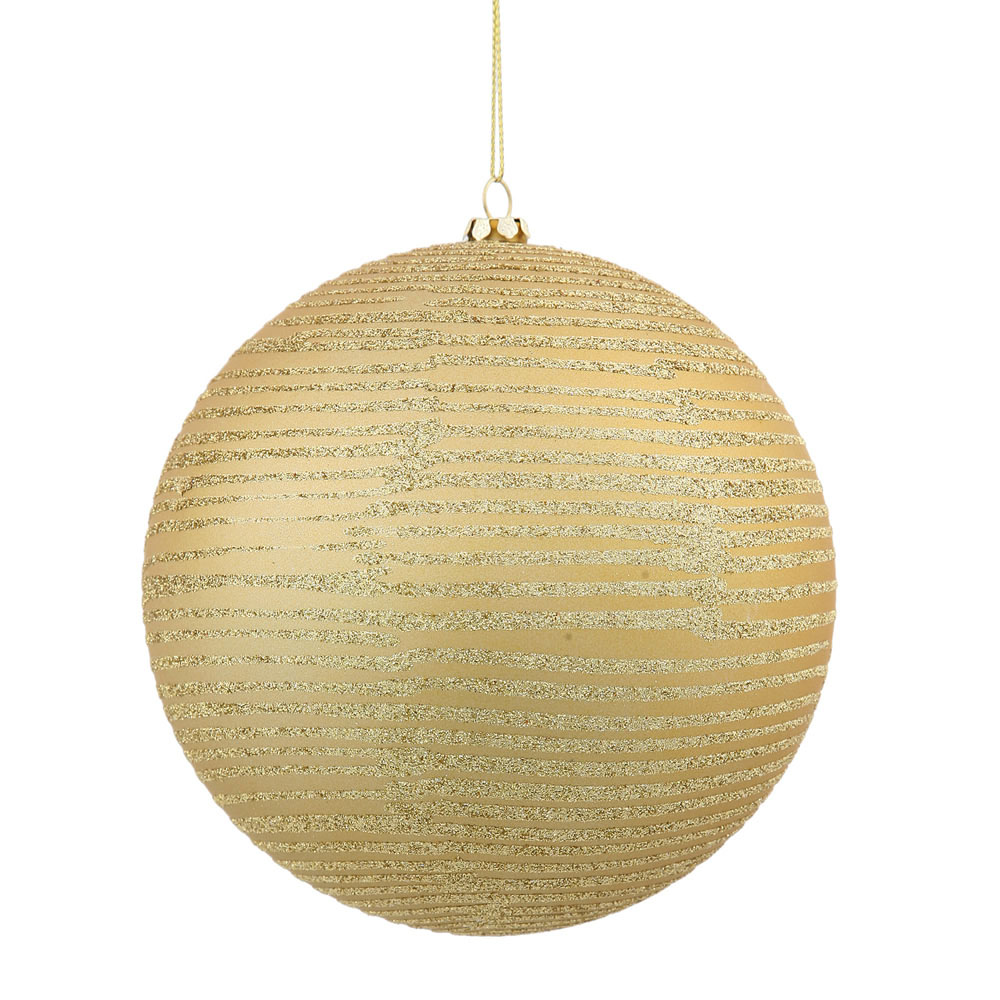4.75 inch Gold Matte/Glitter Ball Ornament: Set of 3 M158608