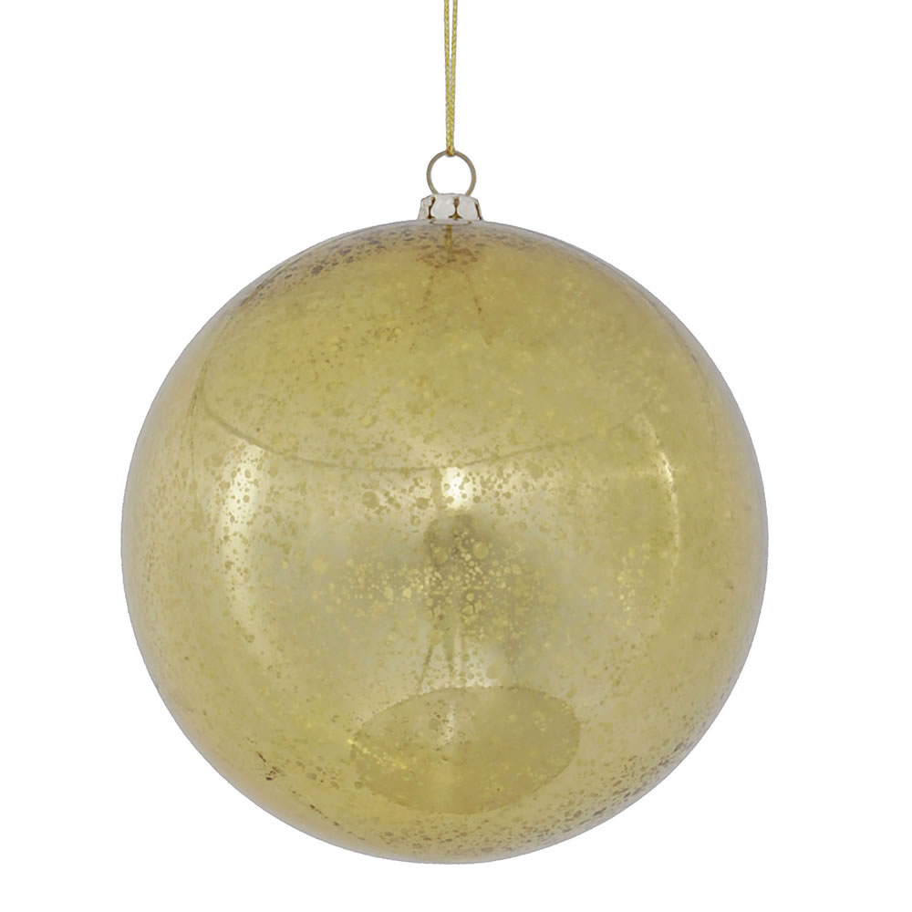 4.75 inch Gold Shiny Mercury Ball Ornament: Set of 4 M166408