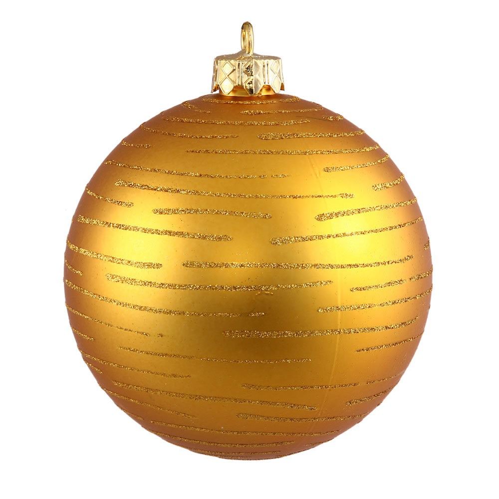 4.75 inch Antique Gold Glitter Ball Ornament: Set of 2 N111230