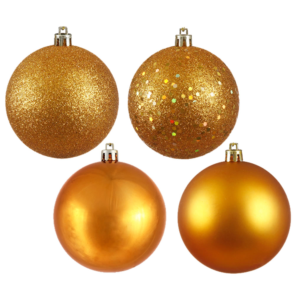 1 Inch Antique Gold 4-finish Christmas Ball Ornament (set Of 18)