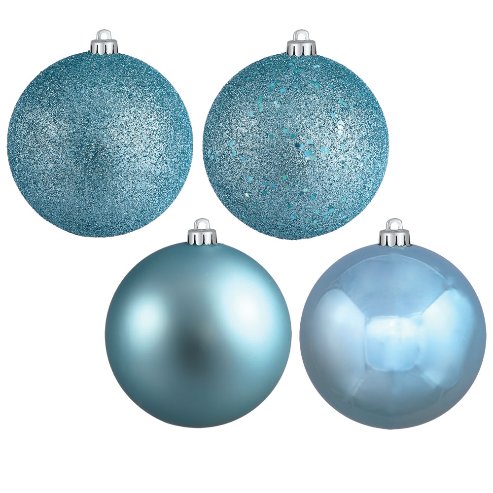 1 Inch Baby Blue 4-finish Christmas Ball Ornament (set Of 18)
