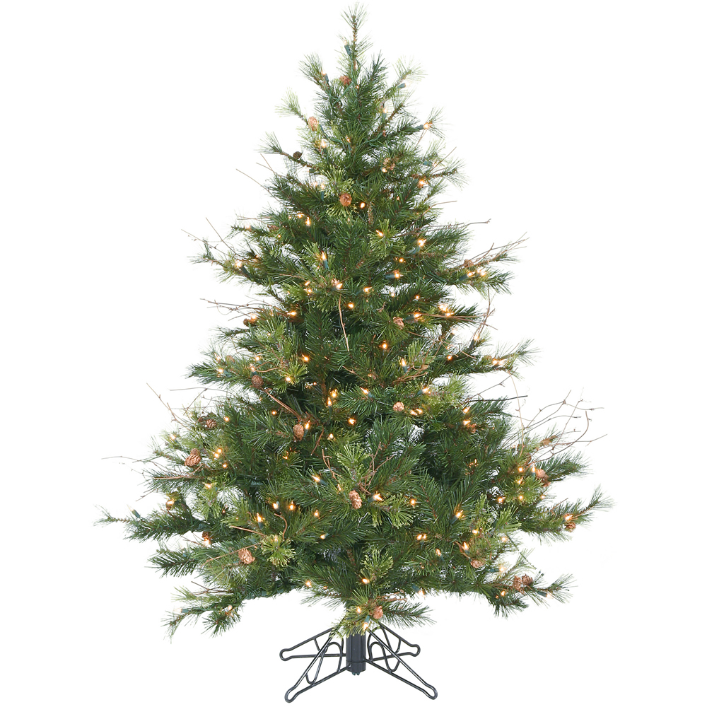 Foot mixed country pine christmas tree all lit lights