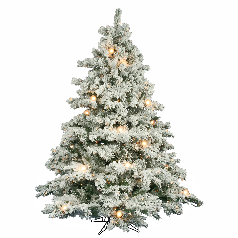 6.5 foot Flocked Alaskan Christmas Tree: Clear Mini & G50 ...
