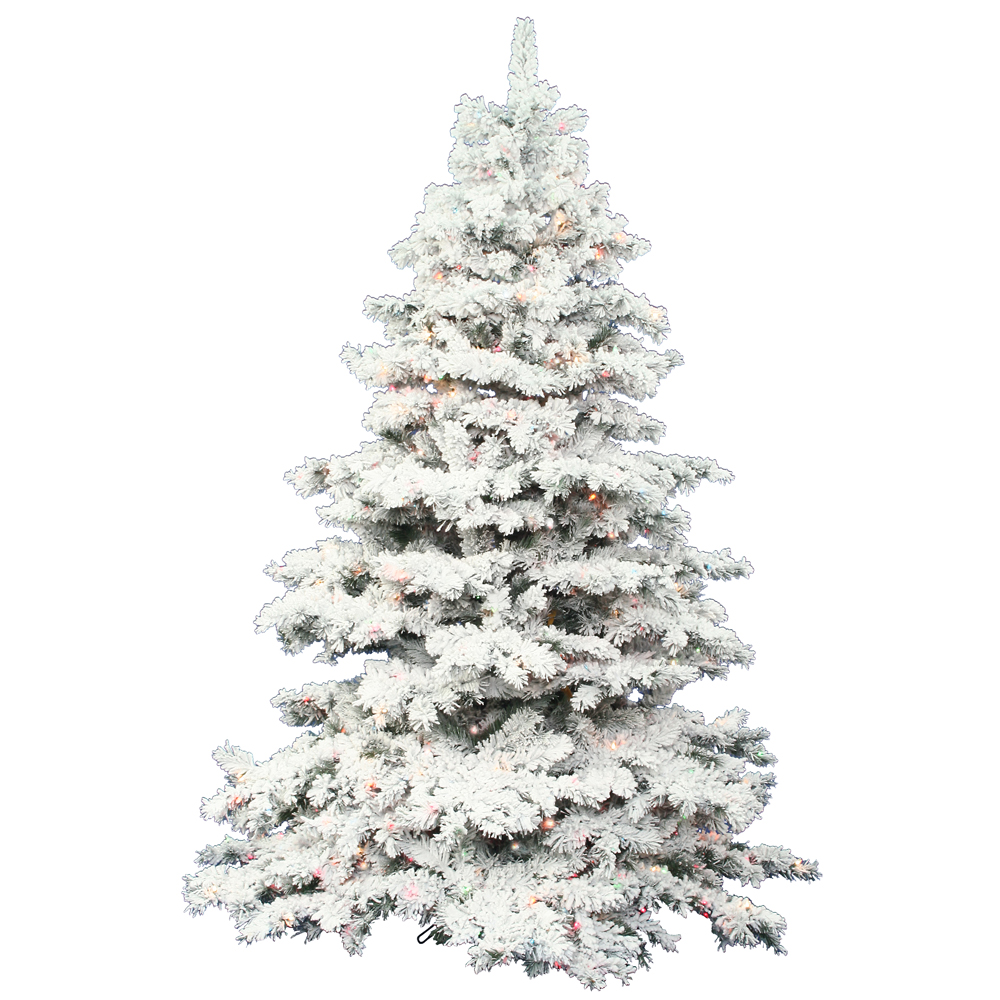 12 Ft Flocked Christmas Tree: 7.5 Foot Flocked Alaskan Christmas Tree: Clear LEDs
