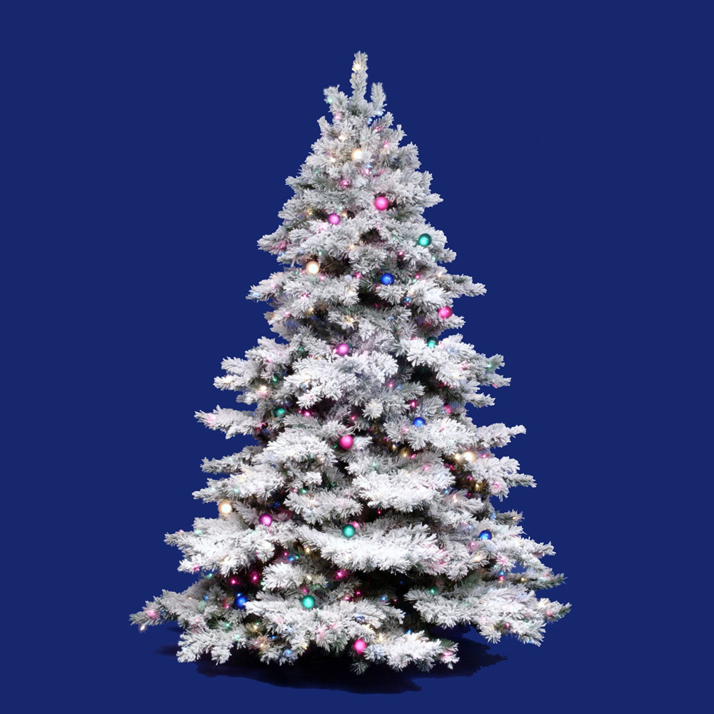 10 Foot Flocked Alaskan Christmas Tree Clear Lights A806386