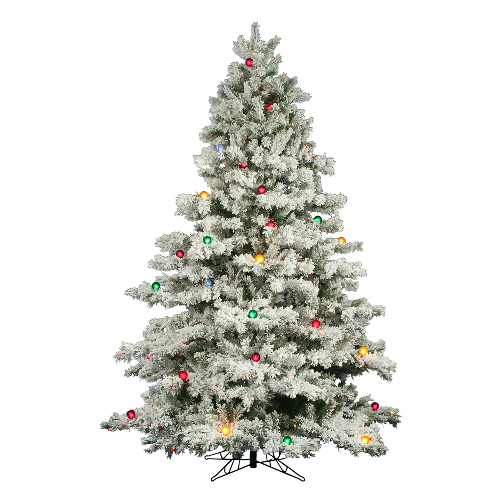 12 Ft Flocked Christmas Tree: 12 Foot Flocked Alaskan Christmas Tree: Multi-Colored Mini