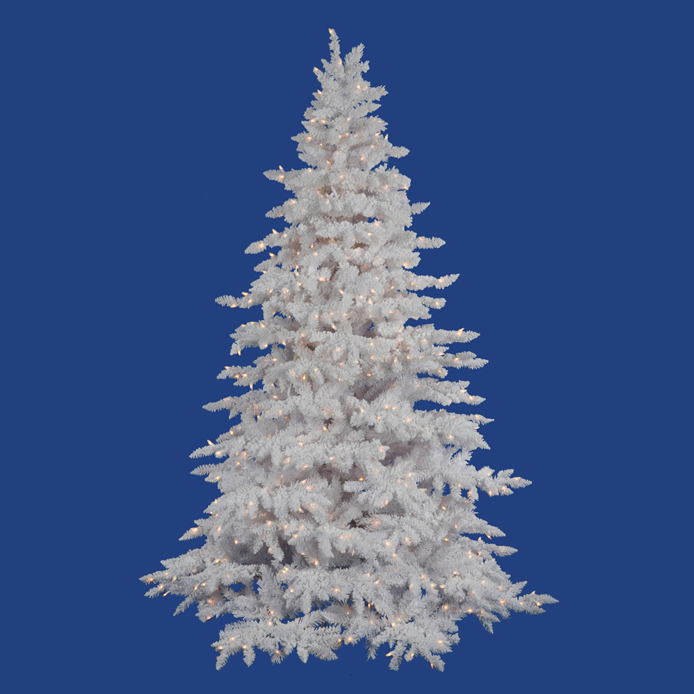 White Christmas Tre: 6.5 Foot Flocked White Spruce Christmas Tree: Clear Lights
