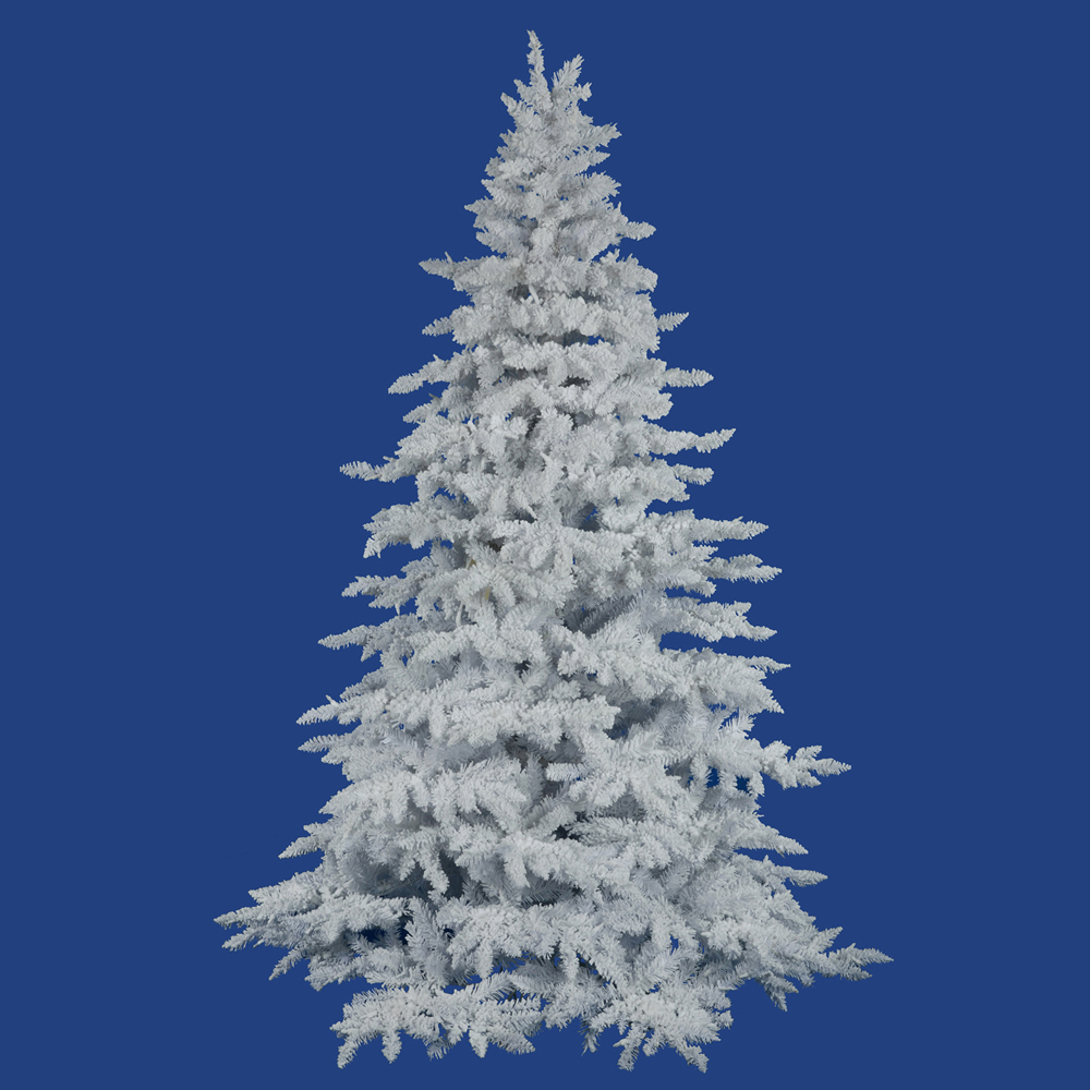 12 Ft Flocked Christmas Tree: 12 Foot Flocked White Spruce Tree: Unlit