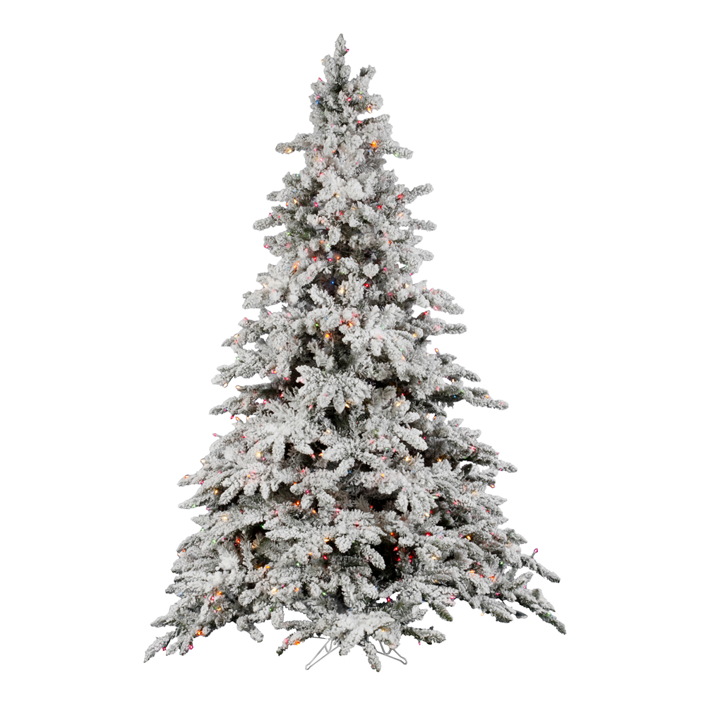 foot flocked utica fir christmas tree multicolor all lit lights. Black Bedroom Furniture Sets. Home Design Ideas
