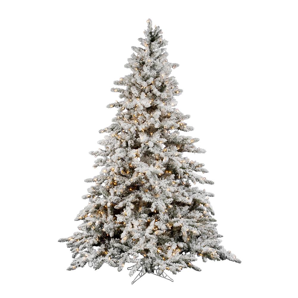 Artificial Christmas Tree 10 Ft: 10 Foot Flocked Utica Fir Christmas Tree: Clear Lights