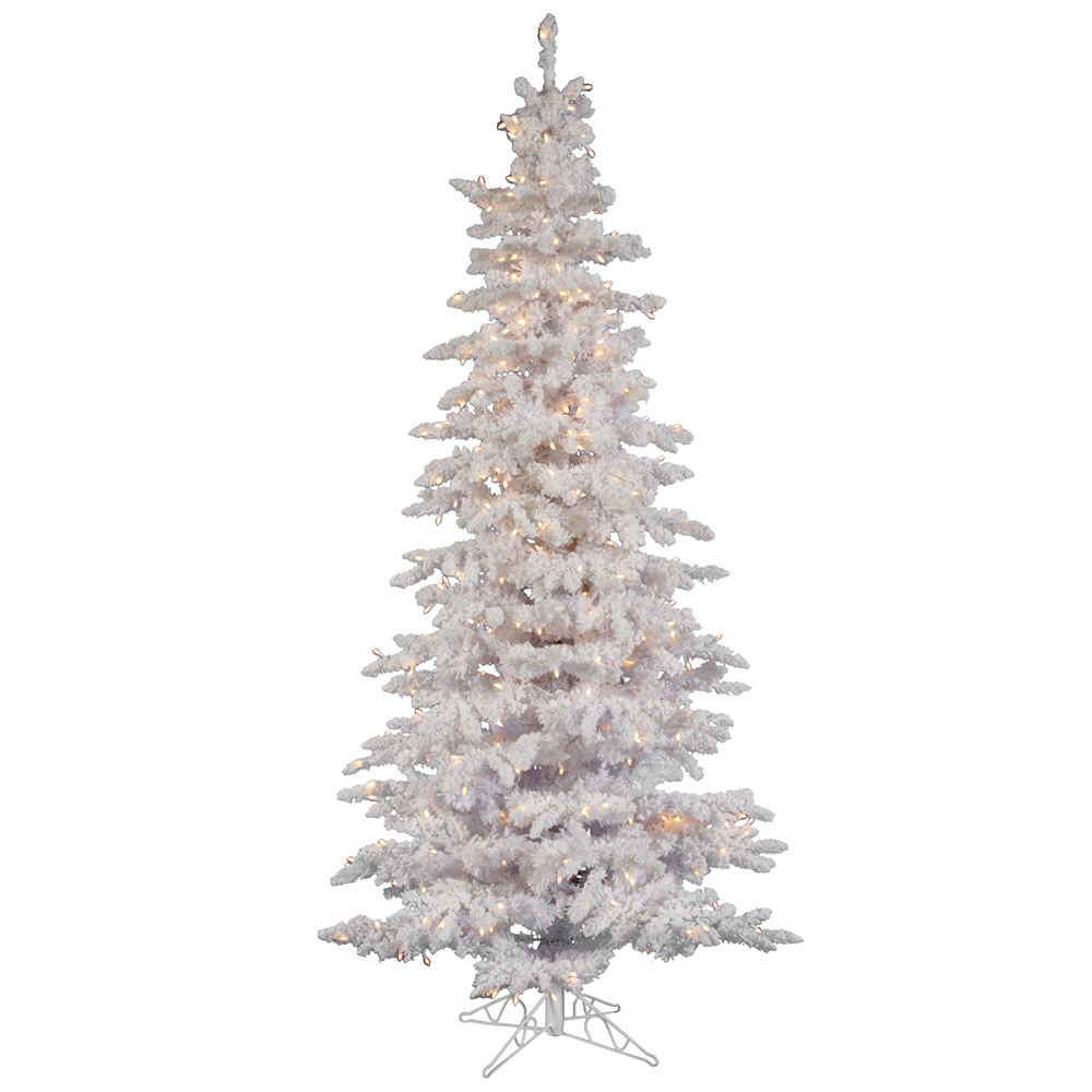 home 6 5 foot flocked white slim spruce christmas tree all lit lights. Black Bedroom Furniture Sets. Home Design Ideas