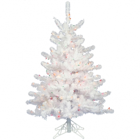 2 foot Crystal White Mini Christmas Tree: Multicolor Lights | A805722