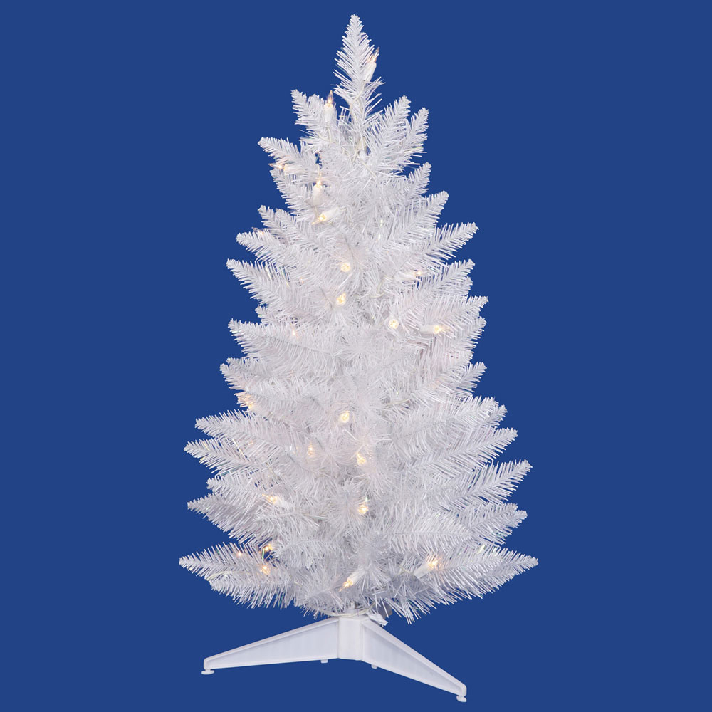 3 foot Sparkle White Pencil Christmas Tree: Multi-Colored ...