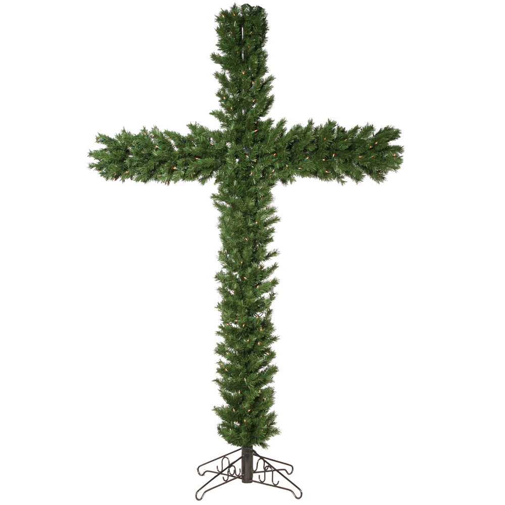 7 5 Foot Pe Pvc Christmas Cross With Clear Mini Lights