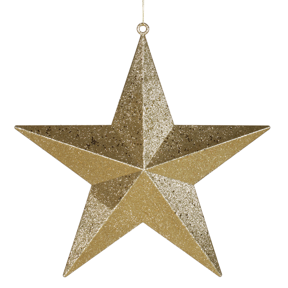 Inch gold glitter star ornament m