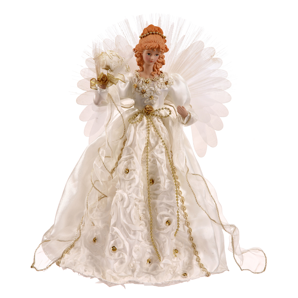 18 Inch White And Gold Angel Christmas Tree Topper Fiber Optic  - Christmas Tree Angel Toppers