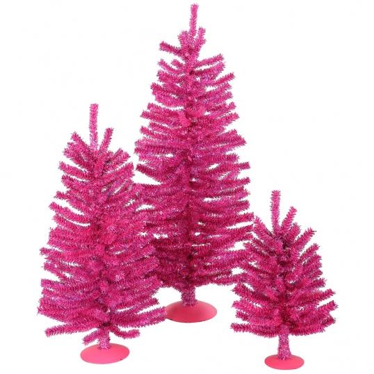 slim logo 12 inch18 inch24 inch hot pink mini christmas tree set