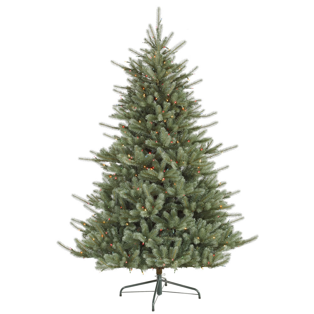 7.5 foot PE/PVC Full Colorado Blue Spruce Tree: Multi-Colored Lights D124577