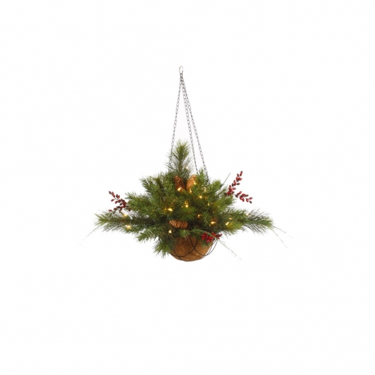 Christmas Hanging Baskets With Lights.12 Inch Mixed Pine Hanging Basket With Lights Berries
