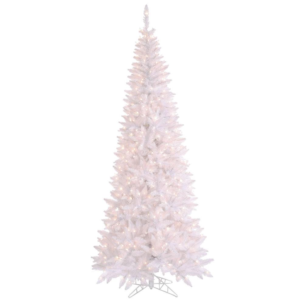 6.5 foot White Slim Fir Christmas Tree: Clear Lights ...