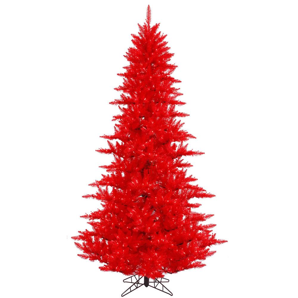 14 foot Red Fir Christmas Tree: Red Lights | K121396