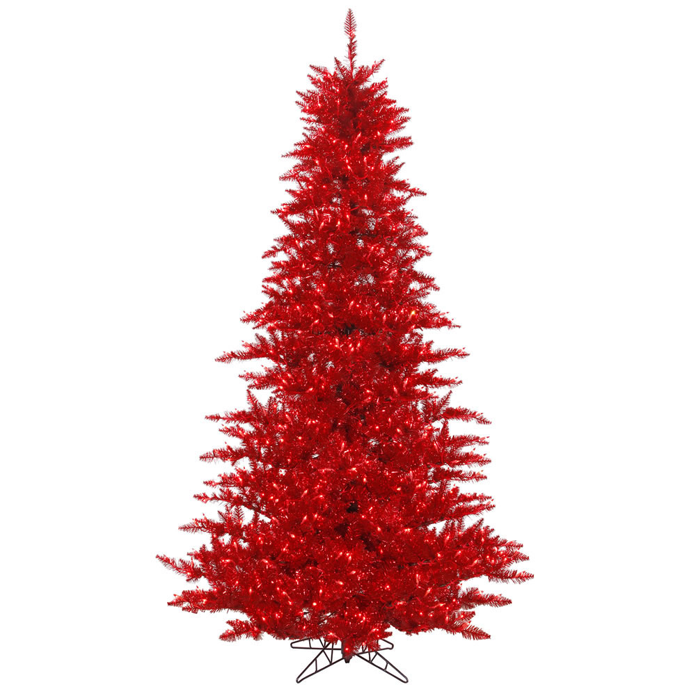 14 foot Red Tinsel Christmas Tree: Red Lights | K125196 ...