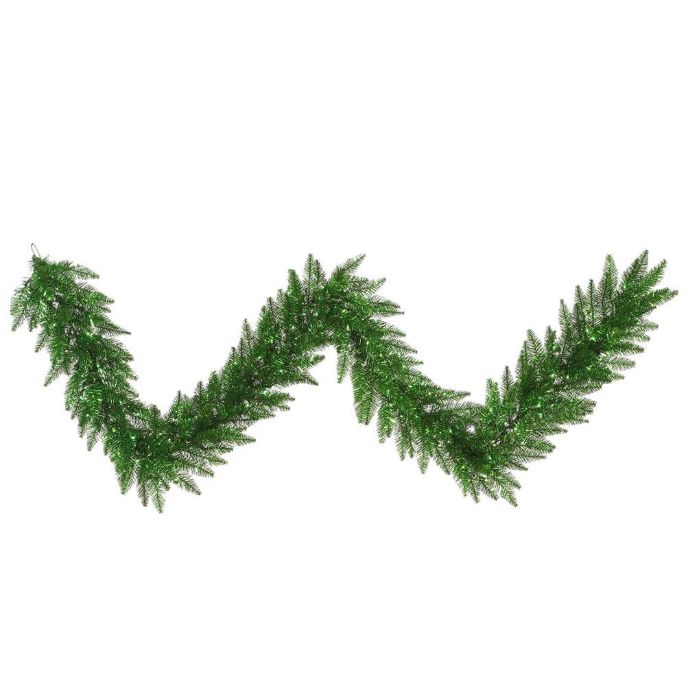 Foot green tinsel garland with lights k