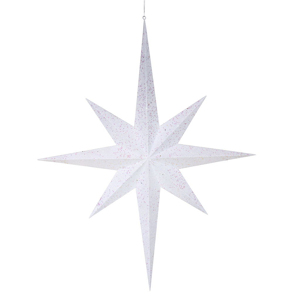 39 Inch White 8 Point Glitter Star M116801
