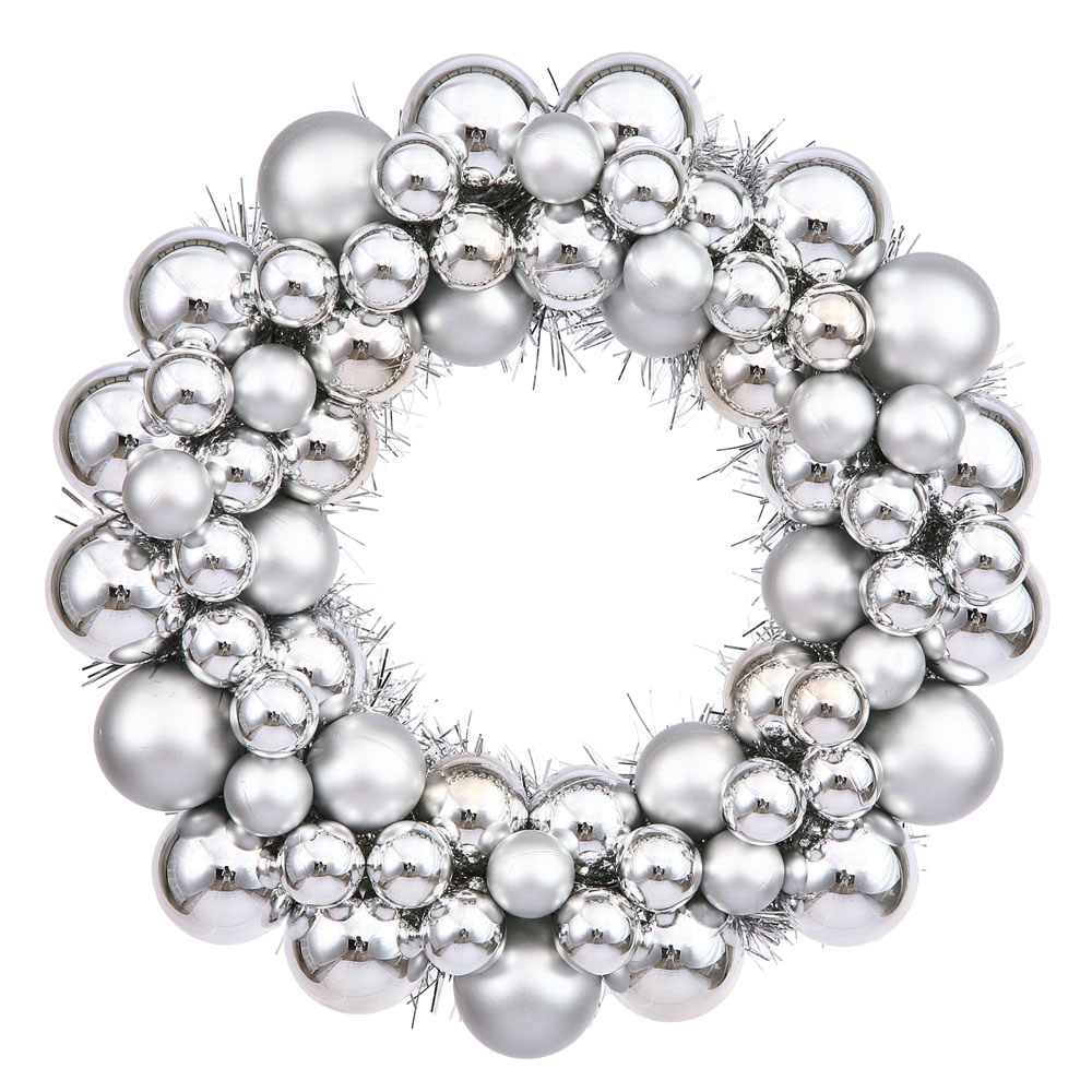 12 Inch Silver Colored Ball Wreath N114207 Vickerman