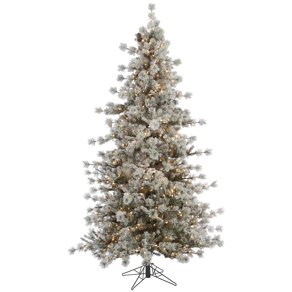 foot flocked anchorage christmas tree clear all lit lights. Black Bedroom Furniture Sets. Home Design Ideas