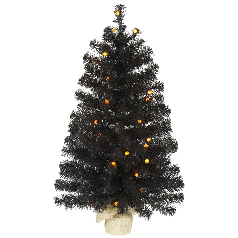 Artificial Black Halloween Tree With Orange Lights Vck4309