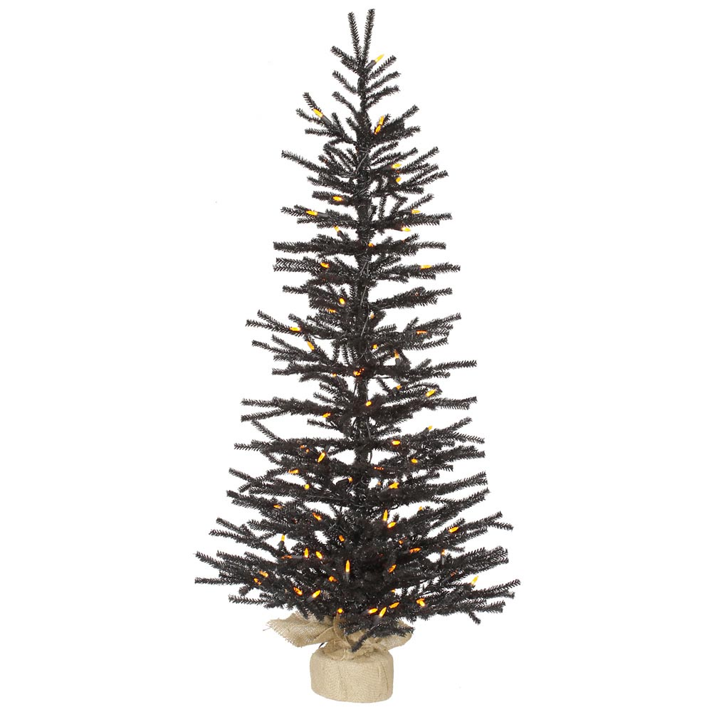 4 foot artificial black pistol halloween tree  orange m5