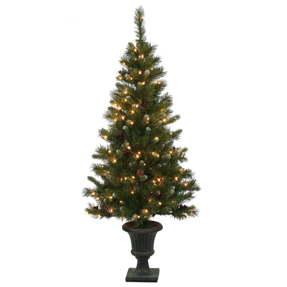 5 Foot Ashberry Christmas Tree In Urn Clear Pre Lit