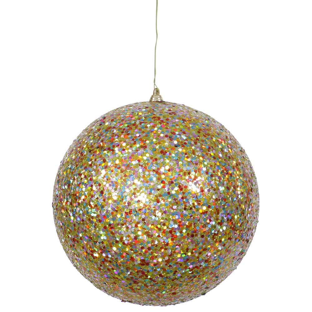 Inch artificial sequin glitter christmas ball gold