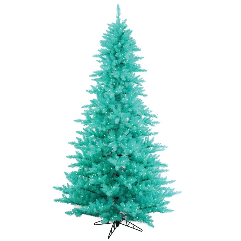 7.5 foot Artificial Aqua Fir Christmas Tree: Blue Pre-Lit Lights : K120976