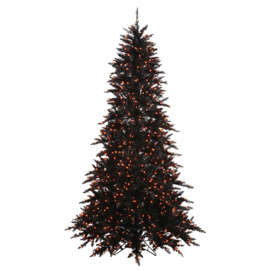 slim logo 65 foot slim black fir halloween tree orange pre lit lights - Black Halloween Tree