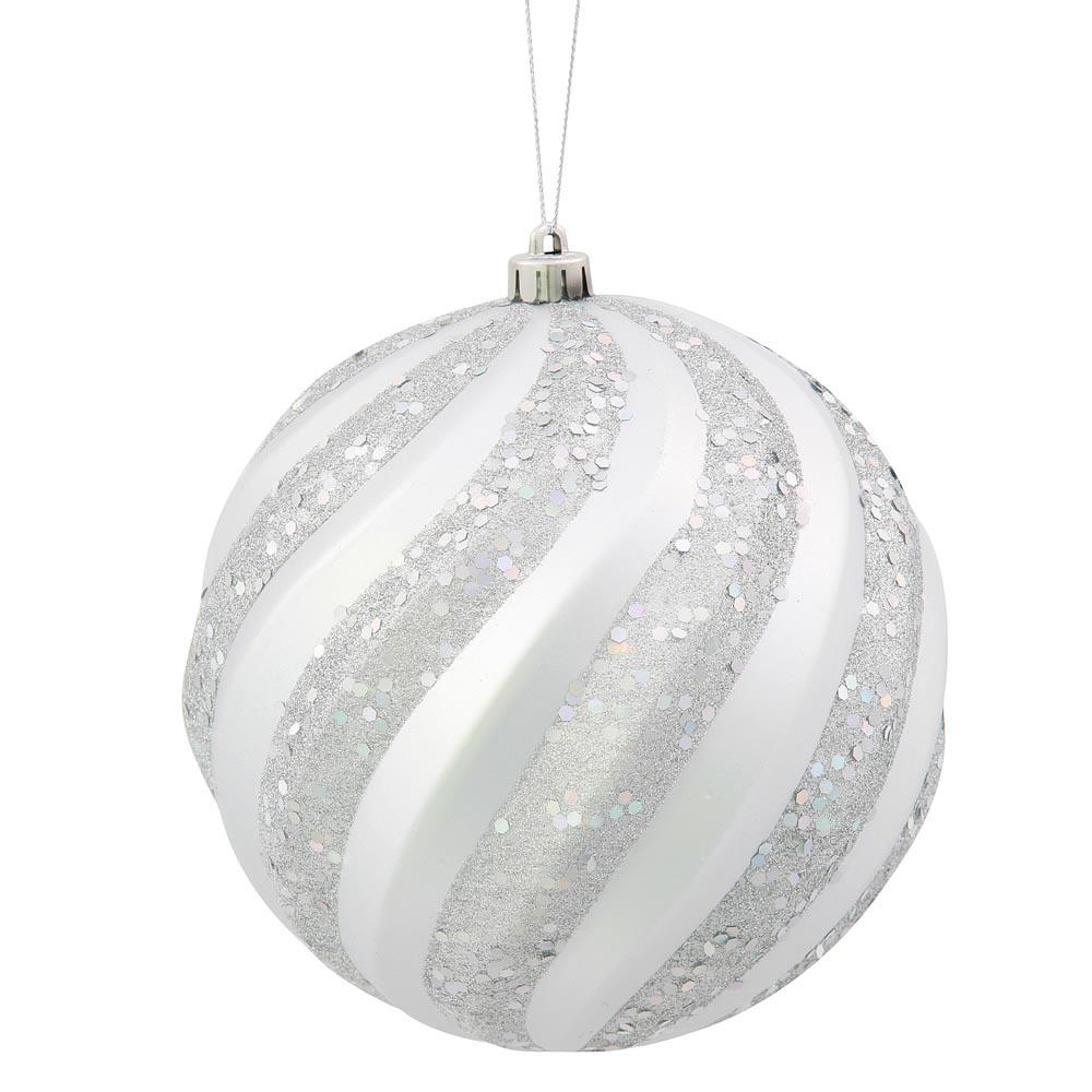 Inch matte glitter swirl christmas ball ornament silver