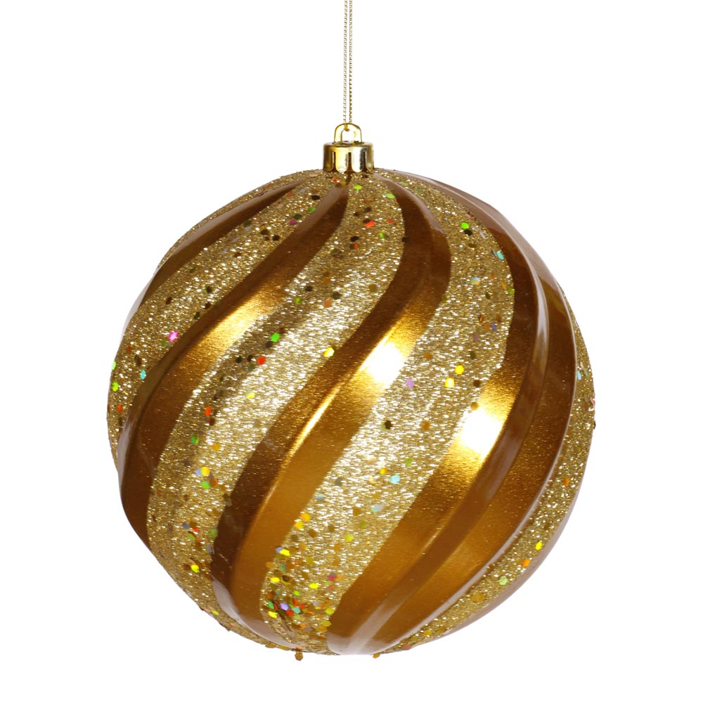 6 Inch Matte Glitter Swirl Christmas Ball Ornament