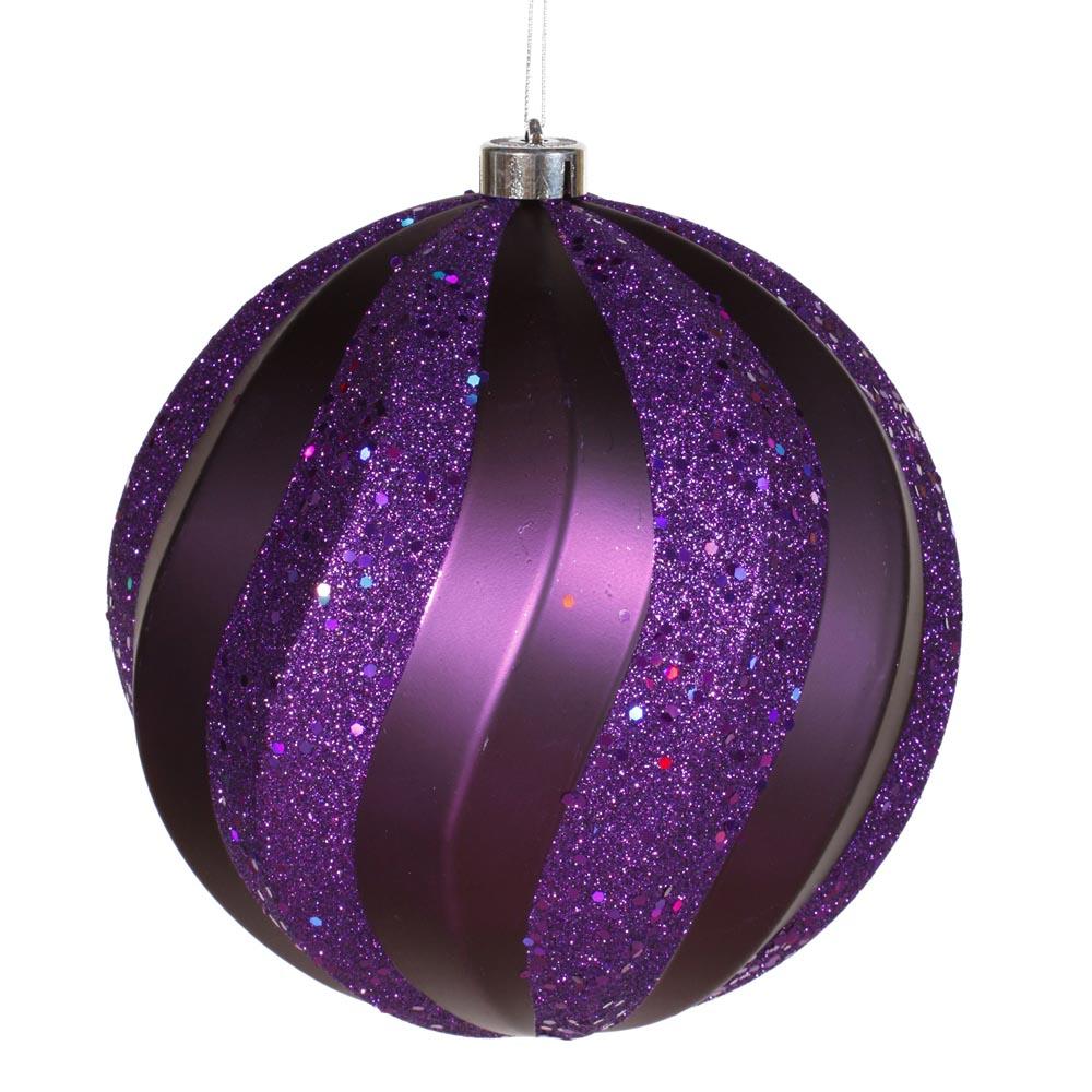 Inch matte glitter swirl christmas ball ornament purple