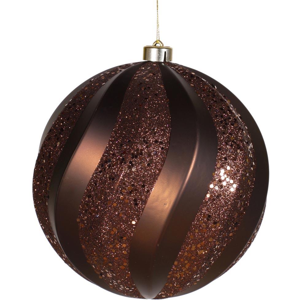 Inch matte glitter swirl christmas ball ornament brown