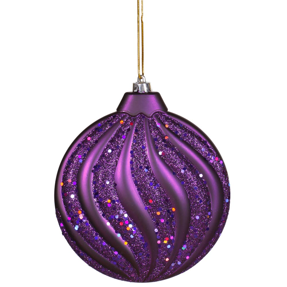 Inch matte glitter flat christmas ball ornament purple