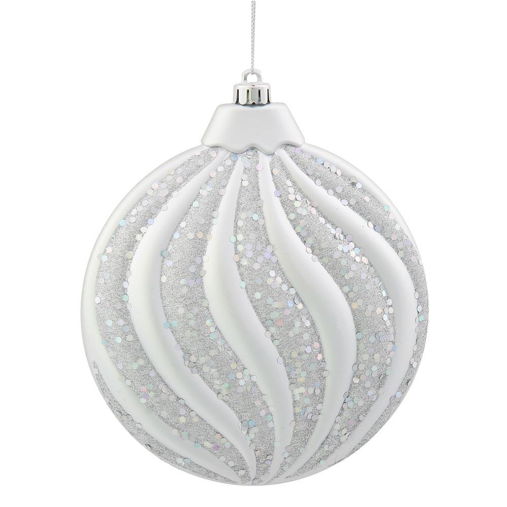 6 inch Matte-Glitter Flat Christmas Ball Ornament: Silver ...